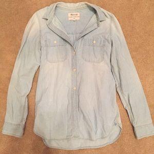 Madewell Evie Light Wash Denim Chambray Shirt